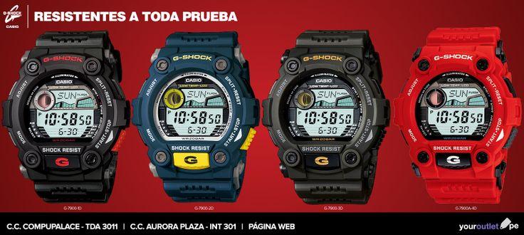 Juveniles y modernos: relojes G-Shock serie G-7900 de Casio.  A la venta en nuestras tiendas o entra a nuestra web y escoge tu color favorito, al mejor precio.