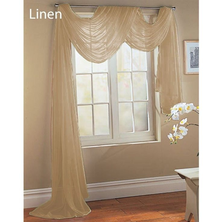 LINEN TAUPE TAN SAND SCARF SHEER VOILE WINDOW TREATMENT CURTAIN DRAPES  VALANCE.