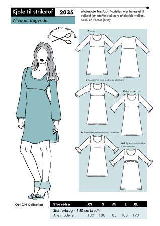 Mönster på en lättsydd klänning i stickade tyger