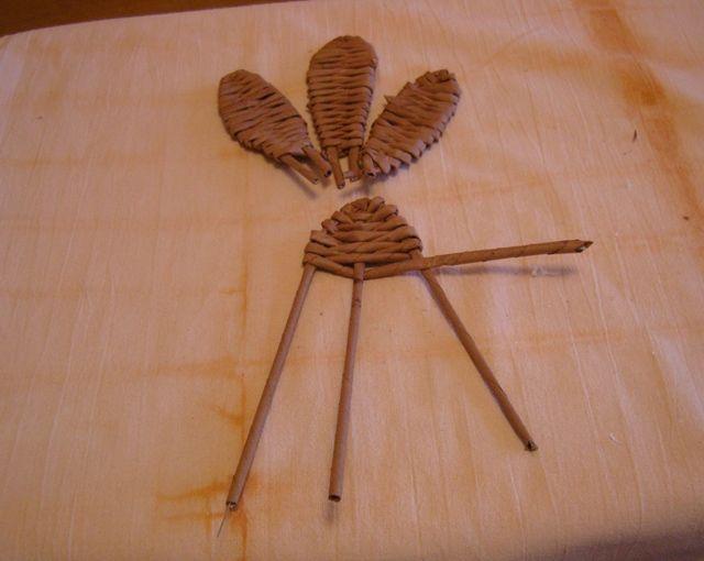 Postup na pletenie sliepky 10 - do ruličky navlečeme drátek ,vytvarujeme křídla a opleteme