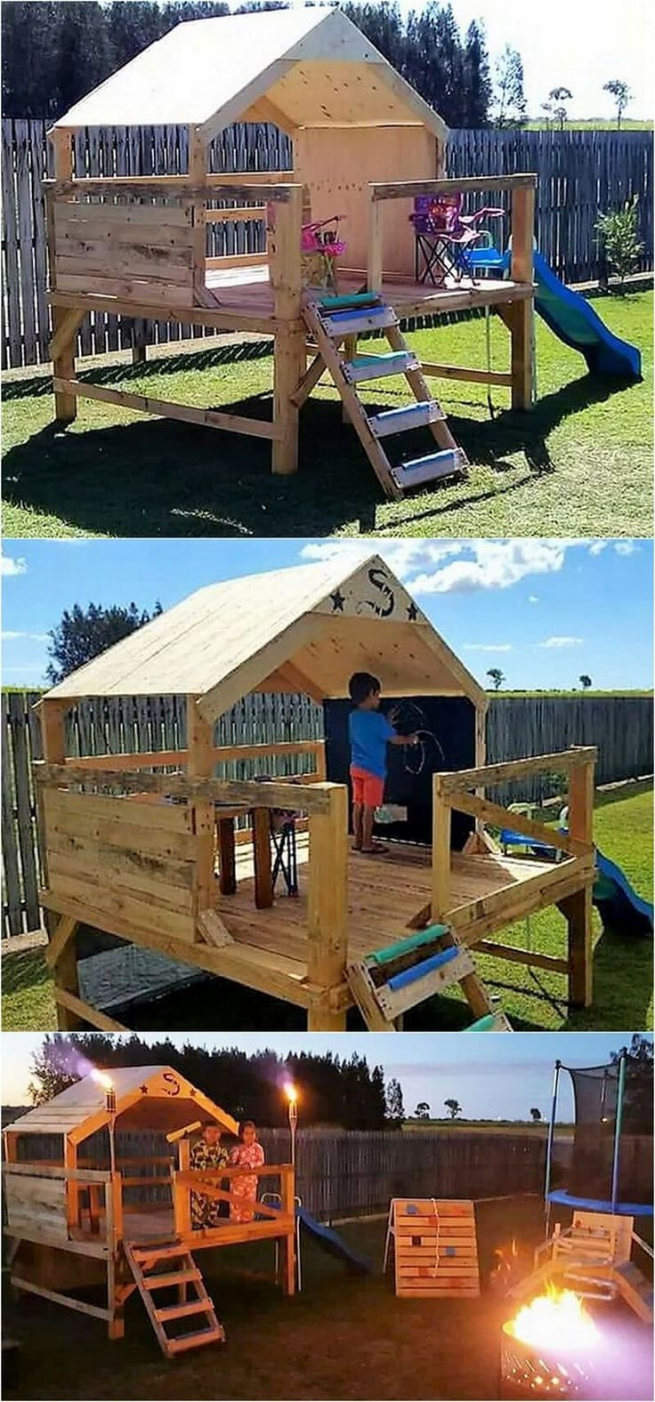 pallets wooden kids playhouse for garden #WoodWorking