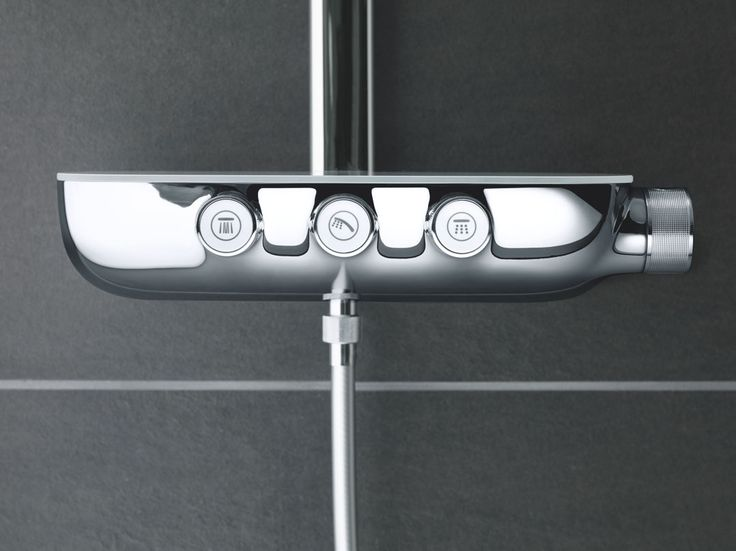 The control panel of GROHE's new SmartControl system is inspired by automotive controls, promising slick, one-touch control for your shower. #Rainshower #SmartControl #bathroom http://www.grohe.co.uk/en_gb/bathroom-collection/showers-rainshower-systems.html
