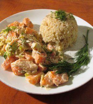 Zalm-wortelstoofpotje met koolhydraatarme rijst