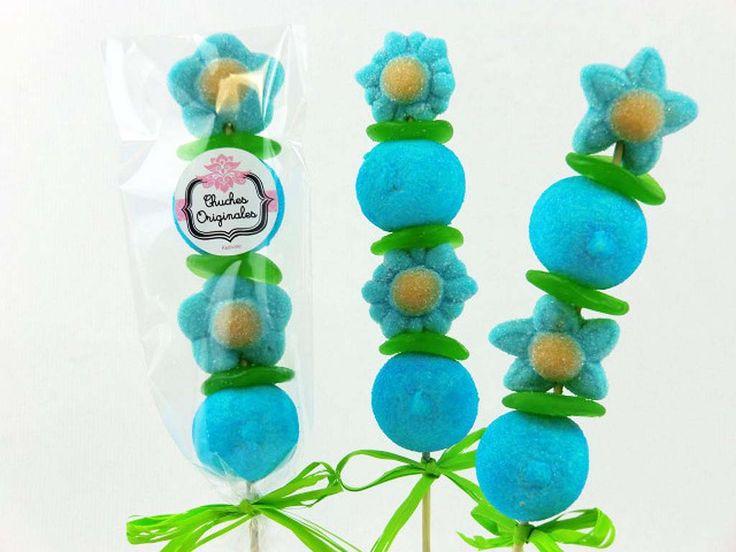brochetas de golosinas azules cosas que me encantan On brochetas de golosinas