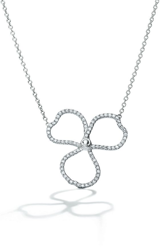 766b05881bda Tiffany Paper Flowers diamond open flower pendant in platinum.