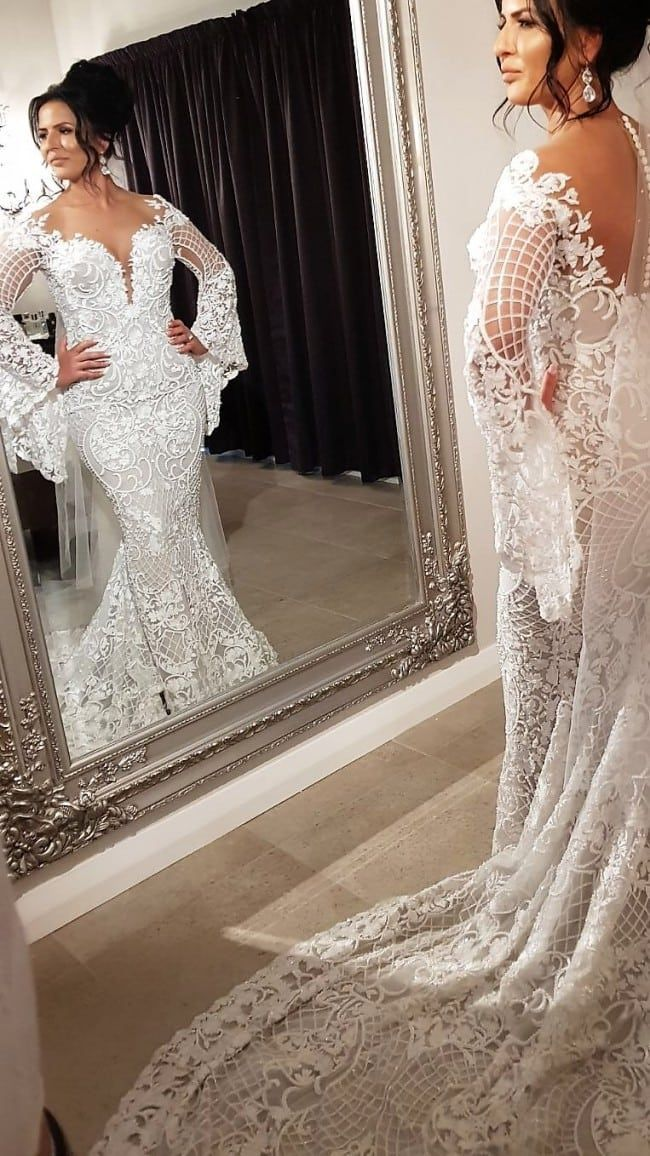 Couture Long Trumpet Sleeve Wedding Gown Long Sleeve Wedding