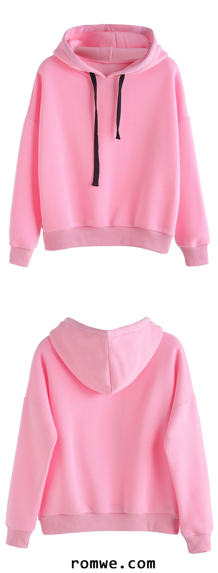 Pink Hooded Sweatshirt With Drawstring In Black