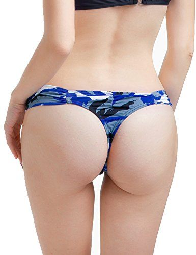 CENG MAU Sexy Womens Brazilian Teeny Scrunch Bikini Thong BottomSCamo Blue * Check out this great product.