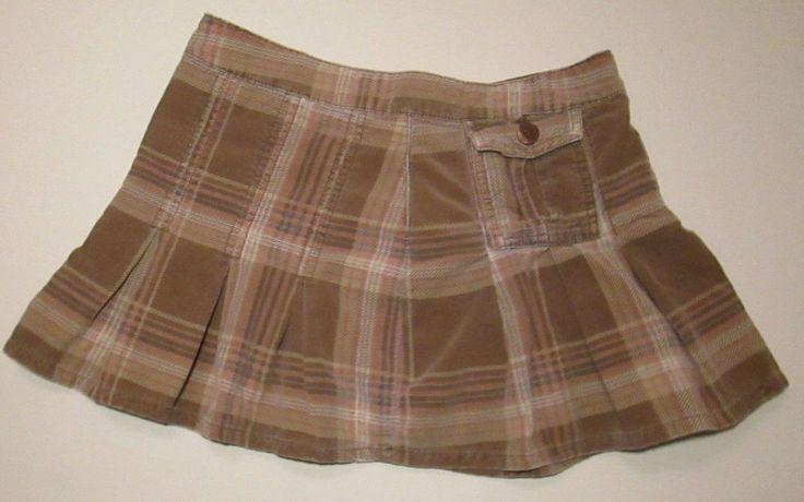 Bongo Pleated Plaid Micro Mini Corduroy Skirt Khaki Peach Taupe Sz 1 #Schoolgirl #Bongo #Mini