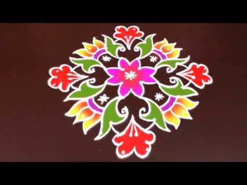10x2 to 2 dots Colorful Sankranthi muggu | Latest Rangoli by Sunitha | Easy Rangoli Designs - YouTube