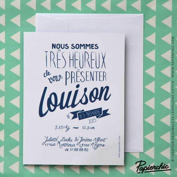 Faire-part de naissance bleu ardoise Louison - Style rétro vintage - typographie