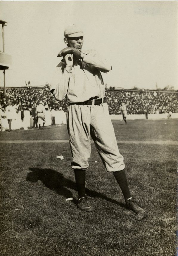 October 10, 1905 at the Polo Grounds: Chief Bender warming up prior to Game 2 of the World Series (Athletics 3, Giants 0).