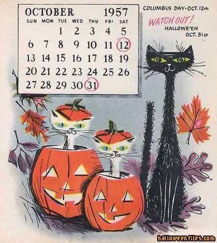 ¤ Vintage Halloween calendar ~ 1957 // calendrier octobre 1957