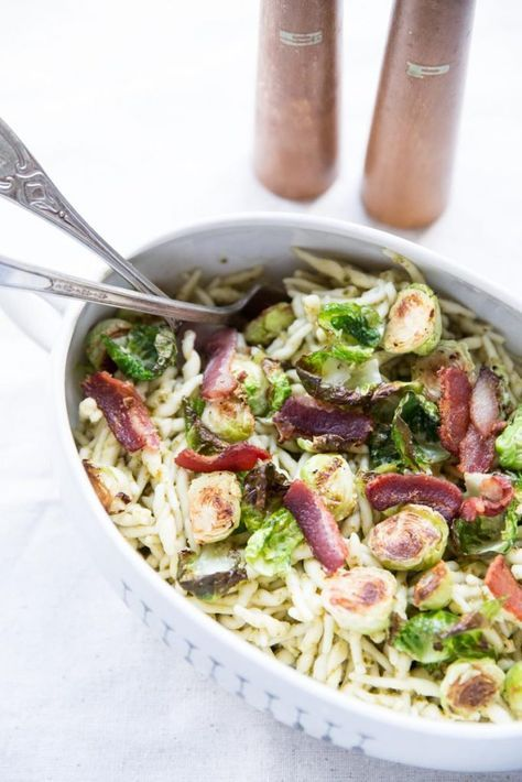 Pesto Pasta with Crispy Brussels Sprouts and Bacon by Vintage Mixer