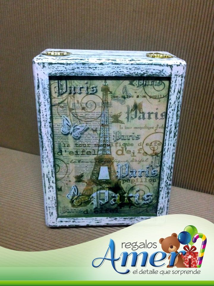 Caja madera decorada manualidades regalos amer www - Caja madera manualidades ...