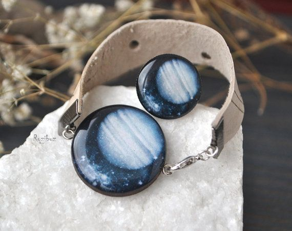 Jupiter bracelet and ring  space jewelry planet jewelry by Rozibuz