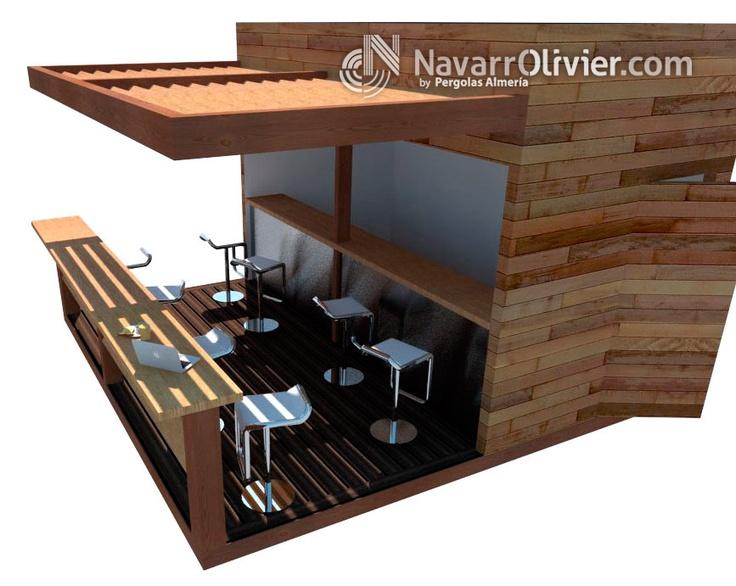 Proyecto de construcción chiringuito modular desmontable en madera tratada, con revestimiento en madera de cedro. navarrolivier.com  #quiosco #guinguette #modulo #chiringuito #madera #kiosco #ambigu #Almeria #beachbar #3d #navarrolivier