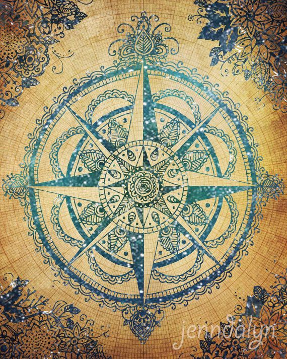Voyager III stretched canvas print compass rose wall by Jenndalyn