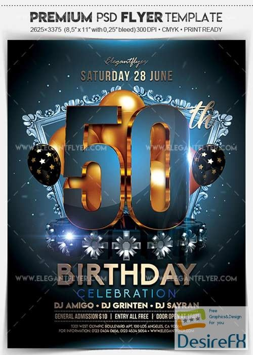 50th birthday party v1 2018 flyer psd template facebook cover