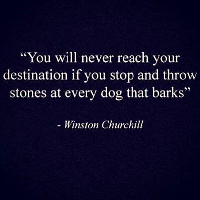 """You will never reach your destination if you stop and throw rocks at every dog that barks."" Winston Churchill"