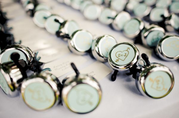 Bicycle bell wedding favors... 'cuz our second date was a bike ride and we could put our logo on them!