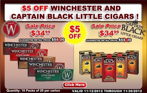 Winchester & Captain Black...Featuring the famous taste of Captain Black Pipe Tobacco, these little gems offer a mild taste, with a sheet wrapper and a blend of Indonesian, Philippine and United States tobaccos. Enjoy Captain Black Little Cigars available in Filter and Sweet.