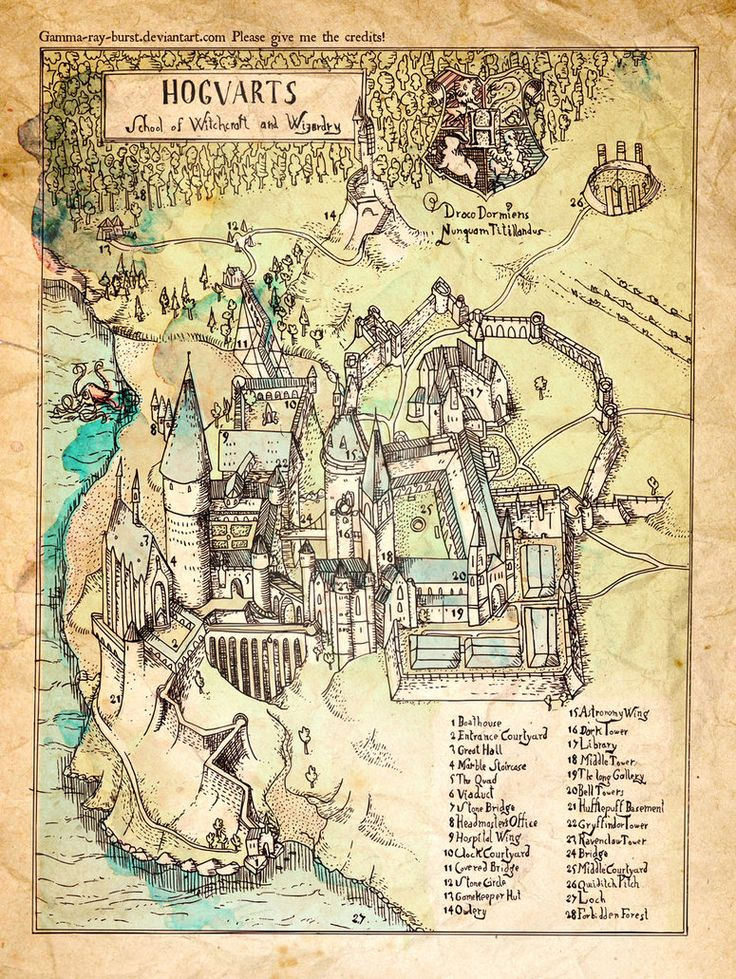 Map of Hogwarts (I think they forgot to label where slytherins common room would be....)