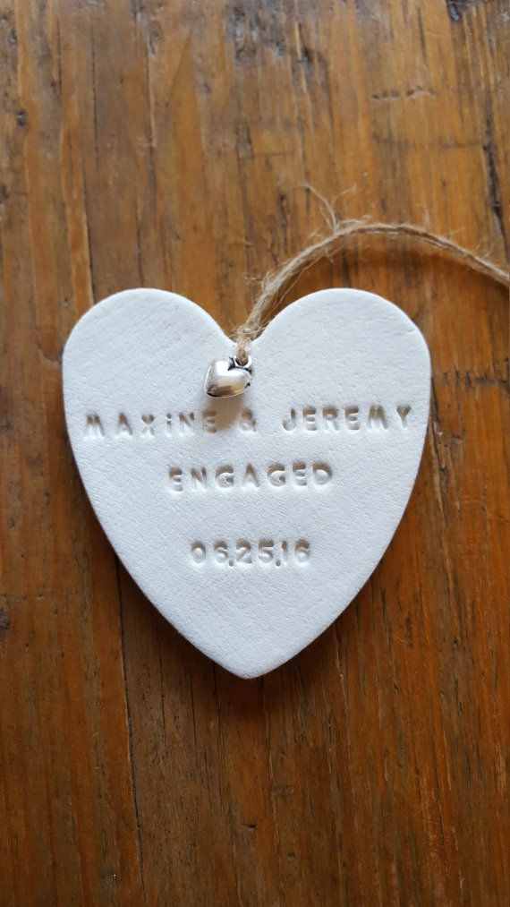 Personalized Engagement Ornament Clay by BethsClayCottage on Etsy