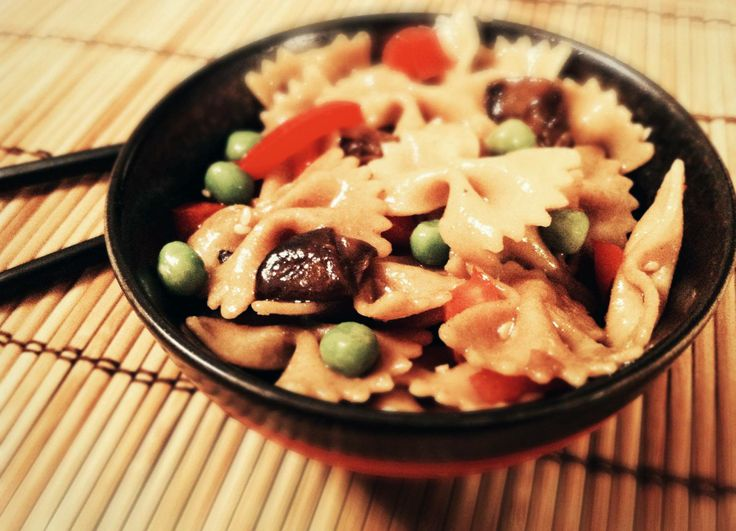 Japanese Sesame Bowtie Pasta Salad (with marinated shiitake mushrooms ...