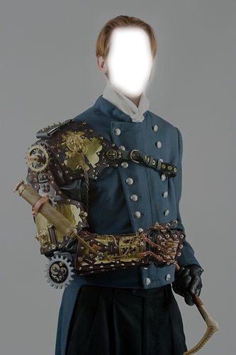 steampunk, man,uniform,military,tuxedo,armor,leather gloves, blue jacket, red hair, male, black, bla