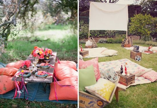 Casual Outdoor Parties At Home In Love Summer Pinterest In Love Backyard Movie Nights And Party At