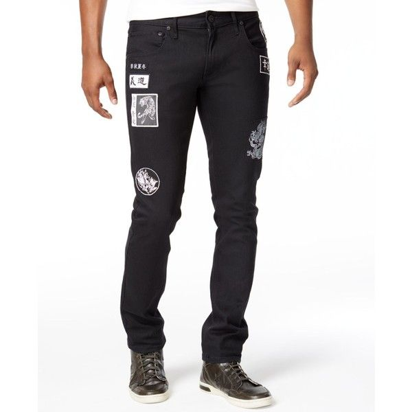 Inc International Concepts Men's Skinny-Fit Stretch Patch Jeans, ($80) ❤ liked on Polyvore featuring men's fashion, men's clothing, men's jeans, black, mens patched jeans, mens skinny fit jeans, mens jeans, mens skinny jeans and mens stretch skinny jeans