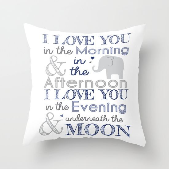 Elephant nursery rhyme print pillow