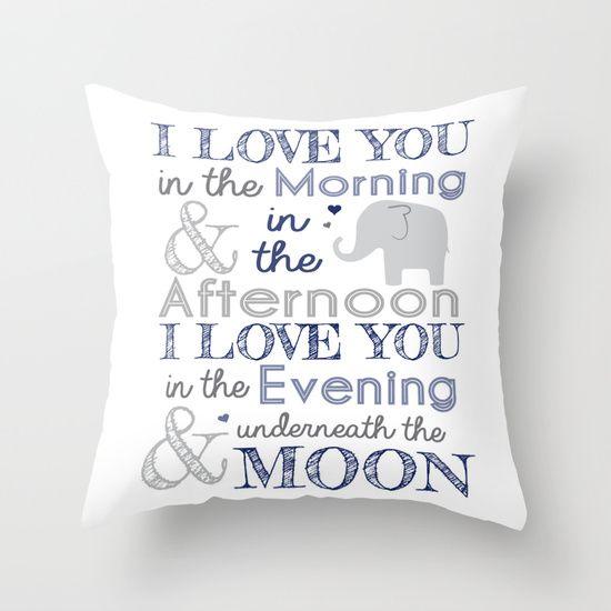 Elephant nursery rhyme print pillow