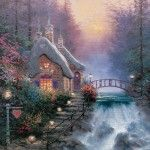 Featuring Thomas Kinkade's best-loved images, our Gallery Wraps are perfect for any space. Each wrap is crafted with our premium canvas reproduction techniques and hand wrapped around a deep, hardwood stretcher bar. Hung as an ensemble or by itself, this frame-less presentation gives you a versatile way to display art in your home. Features Premium canvas substrate Hardwood stretcher bar Certificate of authenticity included Image Notes For the second work in my Sweetheart Cottages colle...
