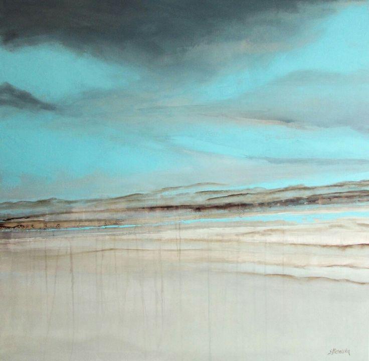 """Pejzaż """"W chmurach """", akryl na podobraziu 100x100cm, Sylwia Michalska malarstwo"""