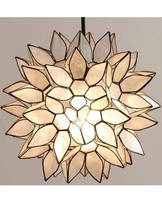 Small Capiz Lotus Hanging Pendant Lantern - World Market