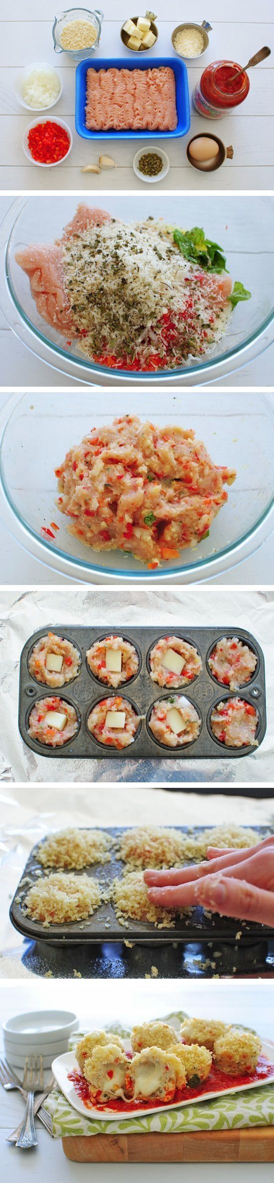 Mini Chicken Parmesan Meatloaf Cupcakes