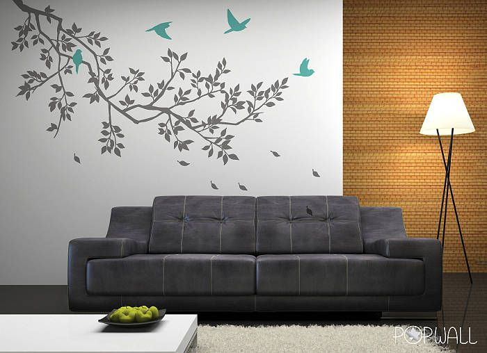 I'm thinking rest of the walls in the blue of the birds, and then this on a neutral wall behind the bed
