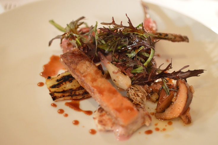 Milly Hill lamb rack w sweetbreads cooked over coals, baby fennel & purplette onions