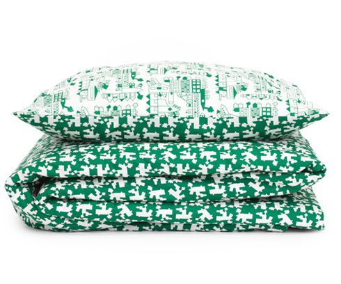 Junior dekbed overtrek 'huis' groen, Tas-ka