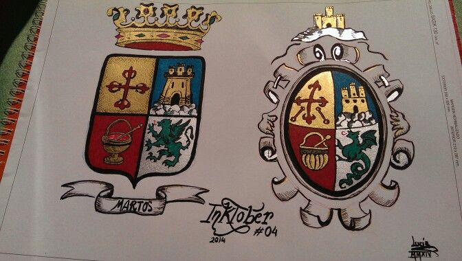 From day 4: Martos town's coat of arms (Andalusia, Spain), two versions, for #INKtober 2014. Finished.