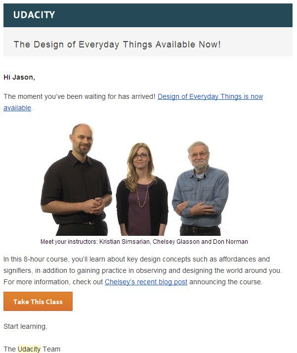 Personal course email from Udacity