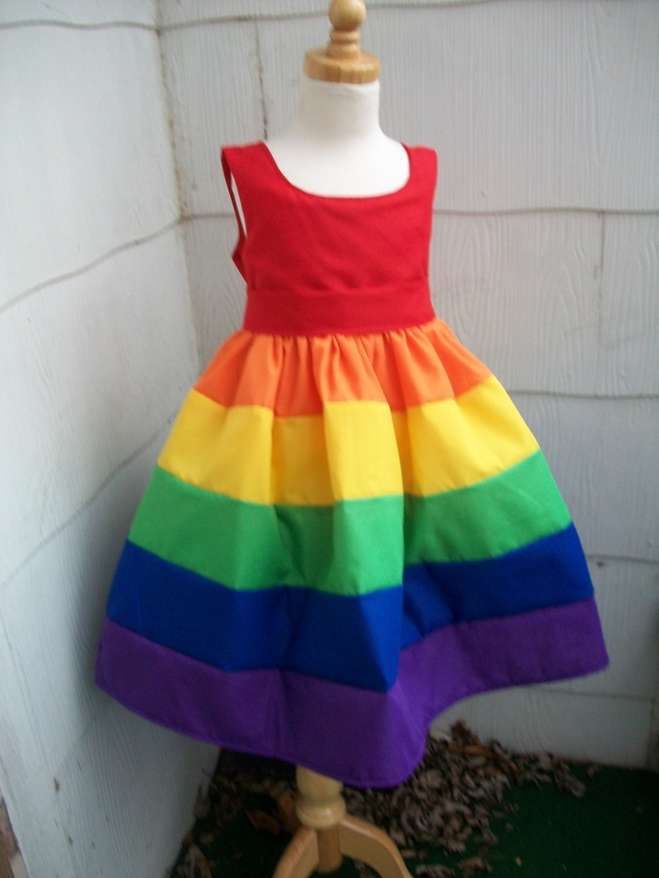 Girls Scoop Neck Rainbow Party Dress Sizes 7 8 10 12 and 14. $70.00, via Etsy.