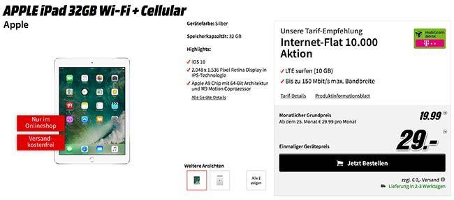 Apple iPad (2017) für 29€ mit 10GB LTE Telekom Vertrag für 19,99€ http://www.simdealz.de/aktionen/apple-ipad-2017-mit-telekom-vertrag/