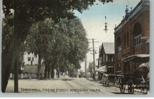 Amesbury MA Town Hall Friend Street c1910 Postcard. Amesbury-MA-Town-Hall-Friend-Street-c1910-Postcard