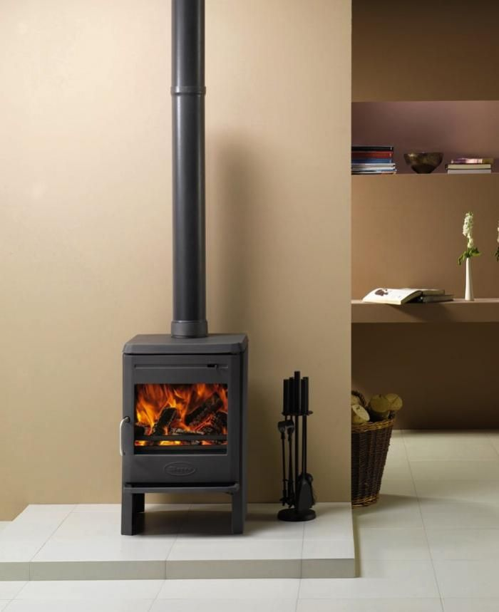the Dovre Astroline 350CB, a clean burning, high-efficiency cast iron wood stove with a small footprint.