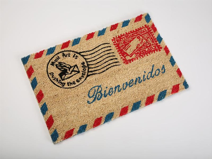 Original felpudo con forma de sobre de correo aereo - Felpudo entrada casa ...