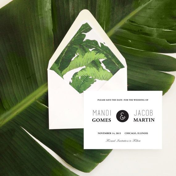 Tropical Save the Date Cards // Any Color Envelopes // Size A2 // Custom Wording