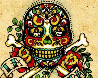 Día del arte muerto imprime Loteria mexicana de por illustratedink